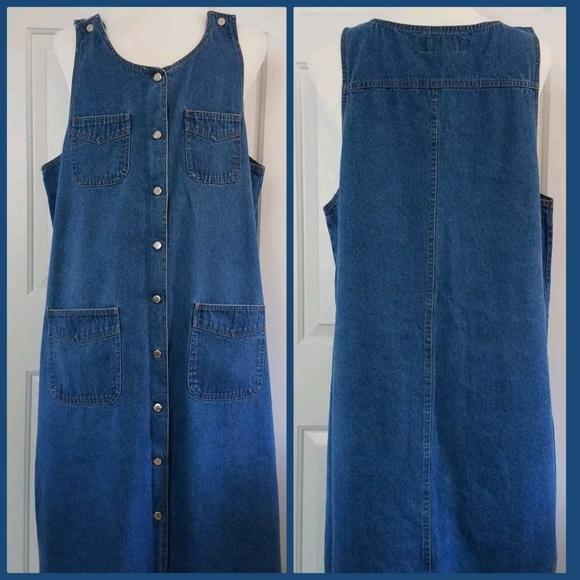 Plus Size Button Down Denim Jean Dress Vintage